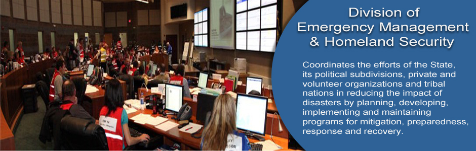 Division of Emergency Management and Homeland Security - Coordinates the efforts in reducing the impact of disasters by planning, developing, implementing and maintaining programs for mitigation, preparedness, response and recovery.